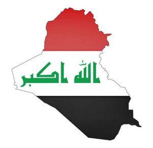 Umrisskarte von Irak mit der Landesflagge