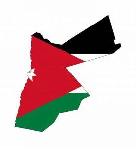 Umrisskarte von Jordanien mit der Landesflagge