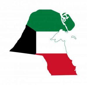 Umrisskarte von Kuwait mit der Landesflagge
