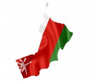 Umriss mit Flagge von Oman