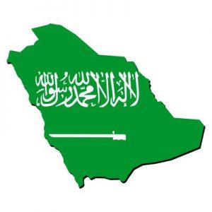 Umrisskarte von mit der Landesflagge von Saudi-Arabien