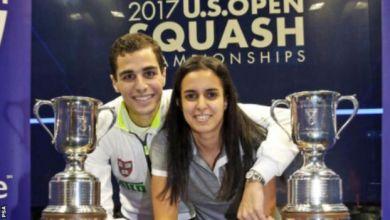 """Photo of نور الطيب وعلي فرج """"أول ثنائي متزوج"""" يحرز بطولة عالمية في اليوم نفسه"""