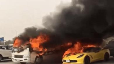 "Photo of الإمارات.. احتراق 11 سيارة في مواقف ""أوت ليت مول"""