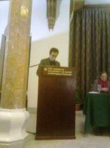Matar at the lecture. Photo Mona Elnamoury.