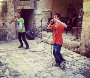 """Photo from @ranagaza: """"Gaza closing event: Young Palestinian rappers rock the stage."""""""
