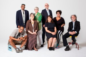 """With other literary arts fellows. Front row: Chace """"Mic Write"""" Morris, Terry Blackhawk, Dunya Mikhail, adrienne maree, Cary Loren. Back: Second Row: Arthur R. LaBrew, Carolyn Walker, Michael Zadoorian. Photo credit: Marvin Shaouni."""