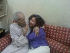 Negm at Dar Merit in 2013 with novelist Mona Prince.
