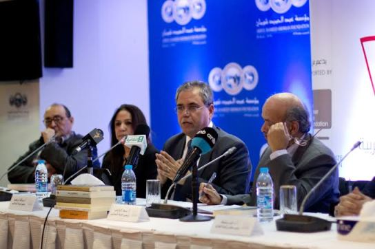 The four judges who were present at the IPAF shortlist announcement. Photo credit: Hussam Da'ana