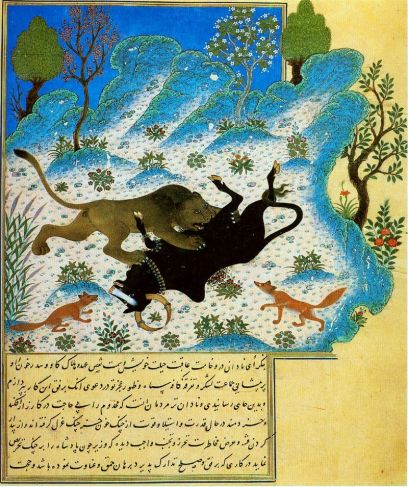 Kalila w Dimna, a text that traveled from Persian to Arabic.