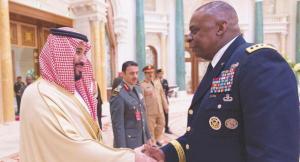 Il principe Mihammad bin Salman insieme al generale statunitense Lloyd Austin