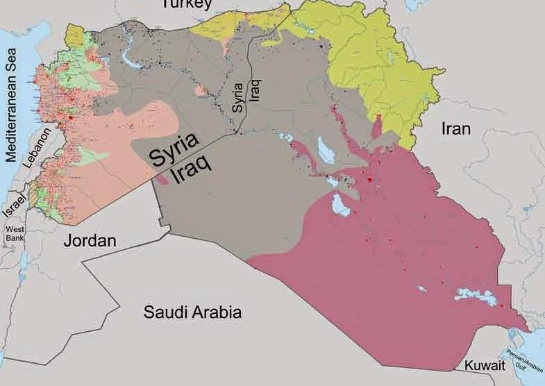 territorio occupato da daesh nel 2014