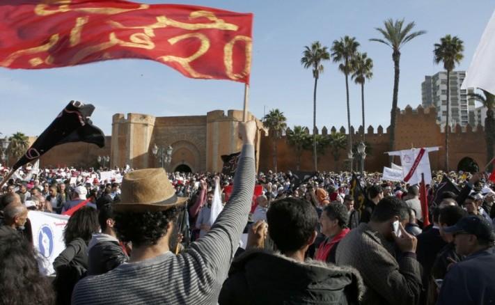 Rabat manifestazione insegnanti stagisti, Marocco