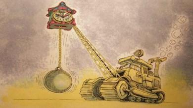 Photo of الوقت يلتهم البشر في معرض سوريا الدولي للكاريكاتير