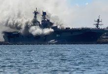 Photo of إصابة 18 بحارًا في حريق على متن سفينة حربية أمريكية