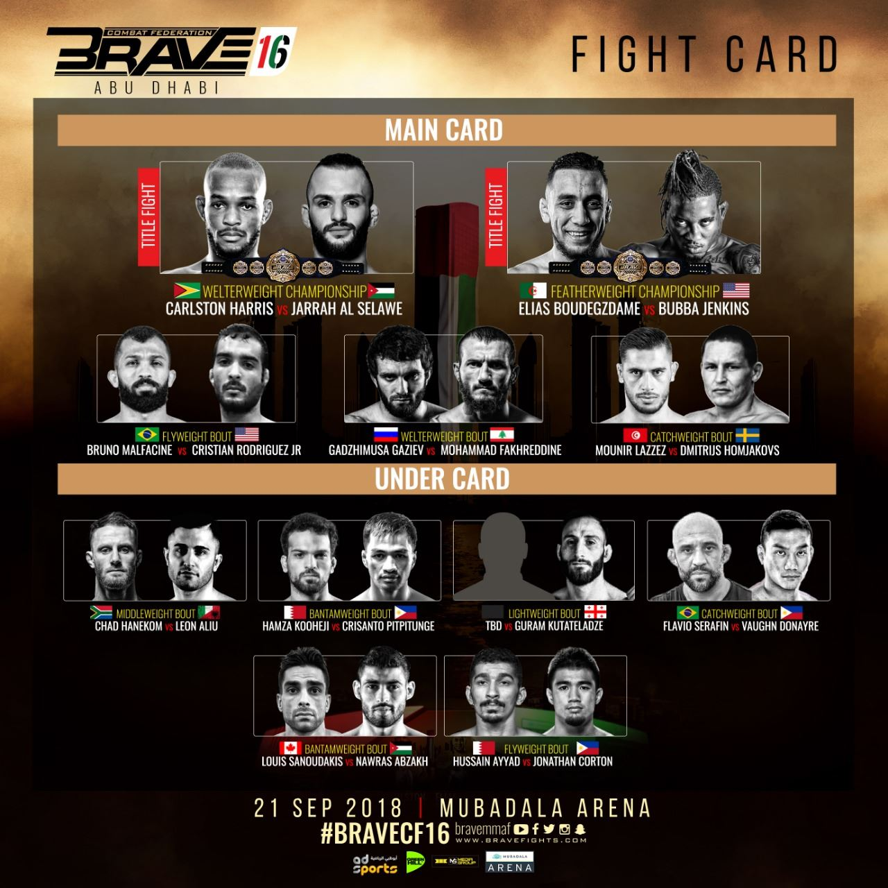brave 16 abu dhabi full fight and bout order arabsmma