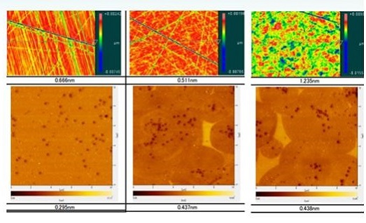 Figure 2: AFM data corresponding to surface roughness (Ra) before and after polishing through our 3 BKM processes. Left: Process 1, Center: Process 2; Right: Process 3.