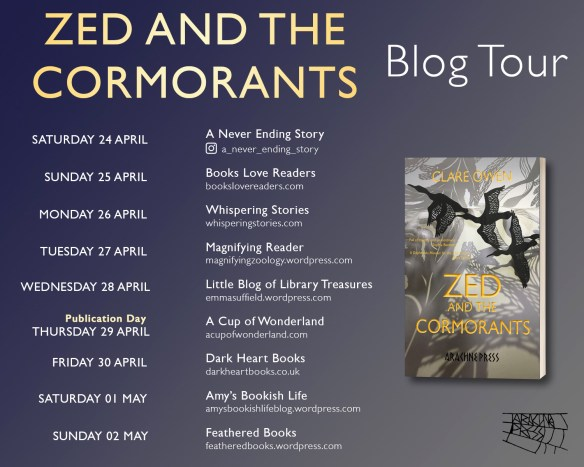 Schedule showing the dates for the Zed and the Cormorants blog tour