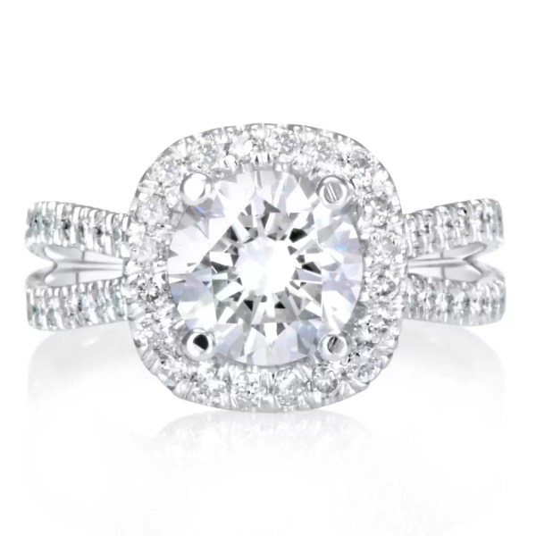 5.25 Ct Round Cut F/Vs1 Diamond Halo Engagement Ring 14K White Gold