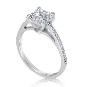 1.51 Ct Princess Cut Diamond Solitaire Engagement Ring 14K White Gold