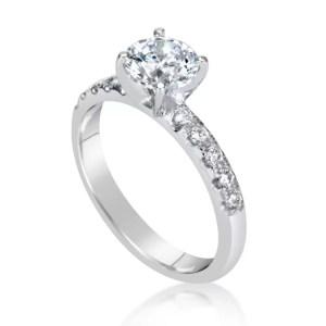 1.66 Carat Round Cut Diamond Engagement Ring 18K White Gold