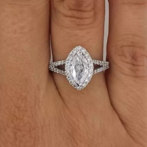 2 Ct Marquise Cut D/S1 Diamond Solitaire Engagement Ring 14K White Gold