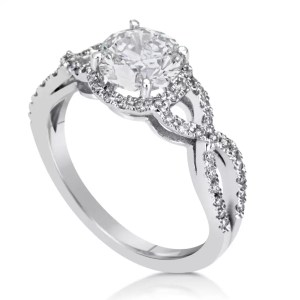 2.02 Carat Round Cut Diamond Engagement Ring 18K White Gold