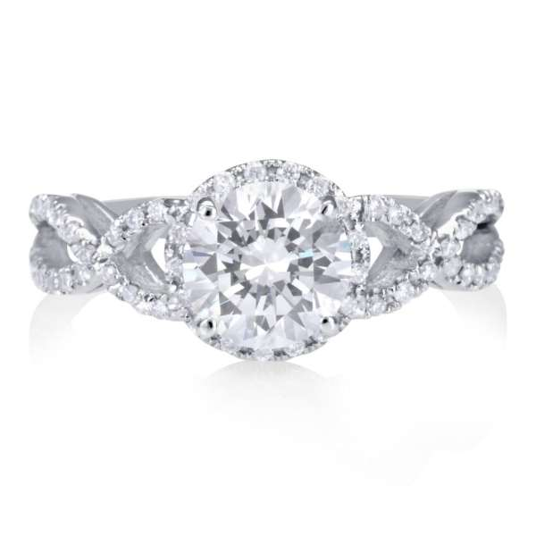 2.02 Carat Round Cut Diamond Engagement Ring 18K White Gold 2