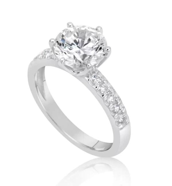 2.15 Carat Round Cut Diamond Engagement Ring 18K White Gold