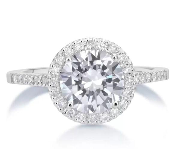 2.3 Carat Round Cut Diamond Engagement Ring 14K White Gold 3