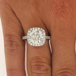 2.50 Ct Round Cut Diamond Halo Engagement Ring Enhanced 14K White Gold