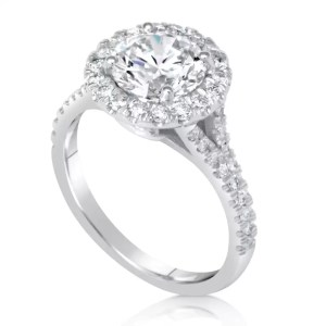 2.85 Carat Round Cut Diamond Engagement Ring 18K White Gold