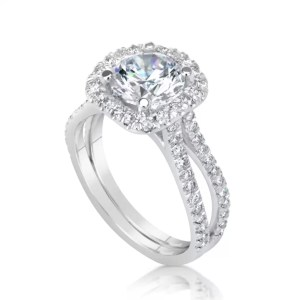 3 Ct Round Cut E/Vs2 Diamond Solitaire Engagement Ring 14K White Gold