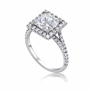 3.00 Ct Princess Cut Diamond Solitaire Engagement Ring 18K White Gold