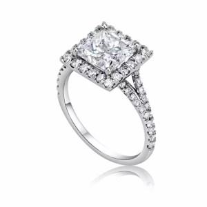 3.00 Ct Princess Cut Diamond Solitaire Engagement Ring 18K White Gold