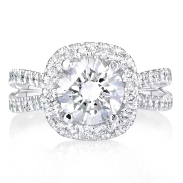 5.25 Carat Round Cut Diamond Engagement Ring 18K White Gold 4