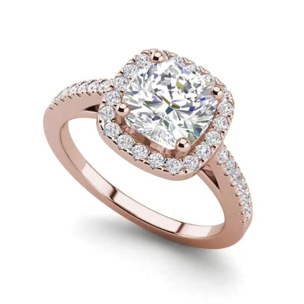 Halo 2.7 Carat VS1 Clarity F Color Cushion Cut Diamond Engagement Ring Rose Gold