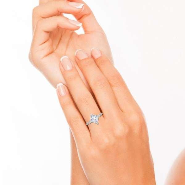 4 Prong 2 Carat VS2 Clarity H Color Princess Cut Diamond Engagement Ring White Gold 4