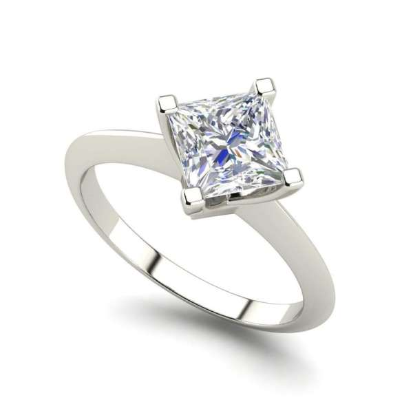 4 Prong 3 Carat SI1 Clarity D Color Princess Cut Diamond Engagement Ring White Gold