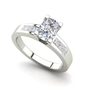 Channel Set 3.45 Carat VS2 Clarity D Color Oval Cut Diamond Engagement Ring White Gold