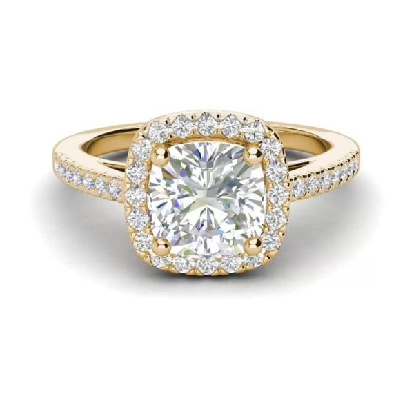 Halo 2.95 Carat VS2 Clarity H Color Cushion Cut Diamond Engagement Ring Yellow Gold 3