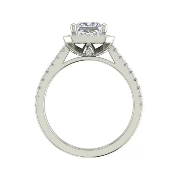 Halo Pave 2.45 Carat VS2 Clarity D Color Princess Cut Diamond Engagement Ring White Gold 2