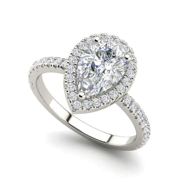 Pave Halo 1.7 Carat VS2 Clarity D Color Pear Cut Diamond Engagement Ring White Gold