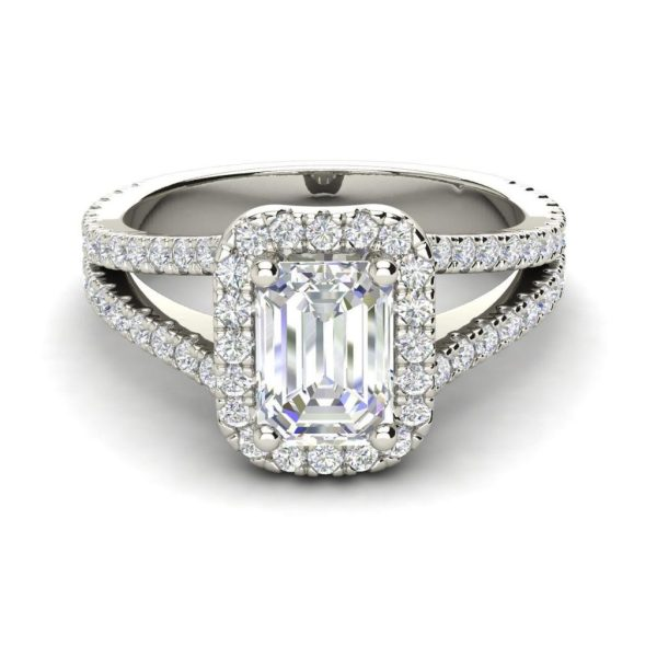 Pave Halo 2.4 Carat VS1 Clarity D Color Emerald Cut Diamond Engagement Ring White Gold 3