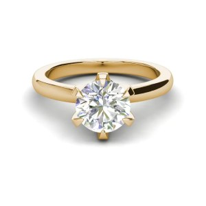 Solitaire 0.9 Carat VS2 Clarity D Color Round Cut Diamond Engagement Ring Yellow Gold 3