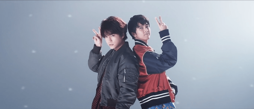 "Kame or Yamapi? Find out in the duo's music video for ""Senaka goshi no Chance"""