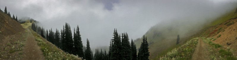 Panorama photo of hiking at Crystal Mountain on a foggy day