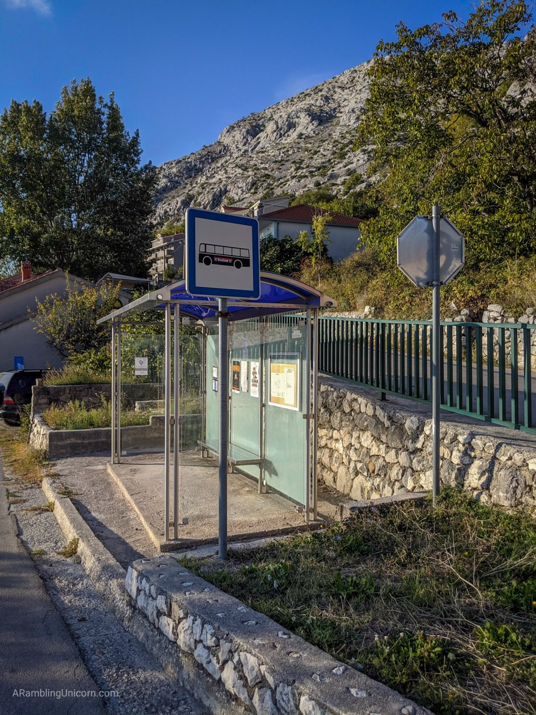 Local bus stop at Gornje Sitno, which is at the base of Mount Mosor.