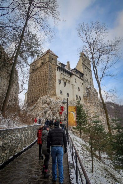 Walking up to Bran Castle.