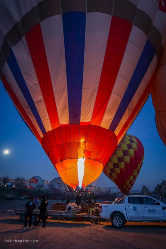 Preparing for the Cappadocia balloon ride: When the balloon has enough air then it is tipped upright.