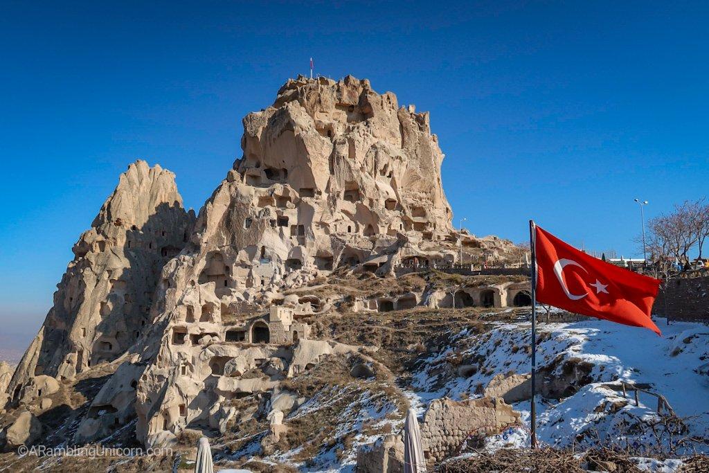 Uçhisar Castle up close.
